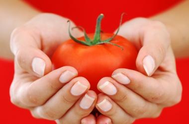 красный овощ в руках